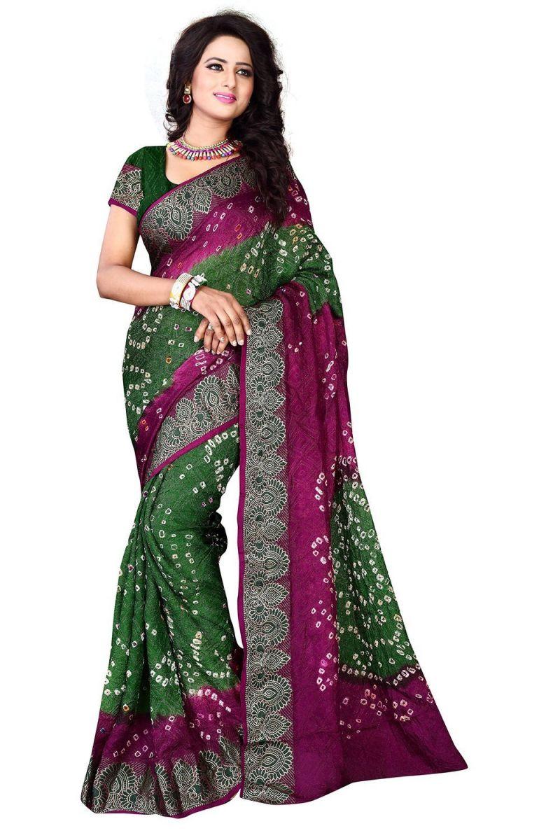 Buy Nirja Creation Green And Violate Color Art Silk Bandhani Saree Nc-006ssd online