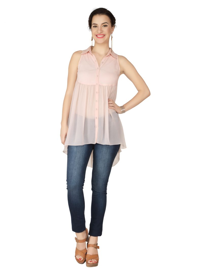 Buy Soie Baby Pink Knitted Pique, Georgette Top For Women online