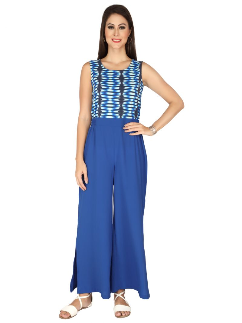 Buy Soie Blue Georgette & Lycra Jumpsuit For Women (code - 6325) online