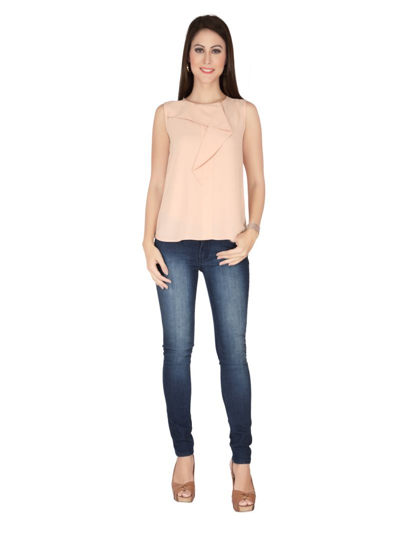 Buy Soie Peach Heavy Georgette Top For Women online