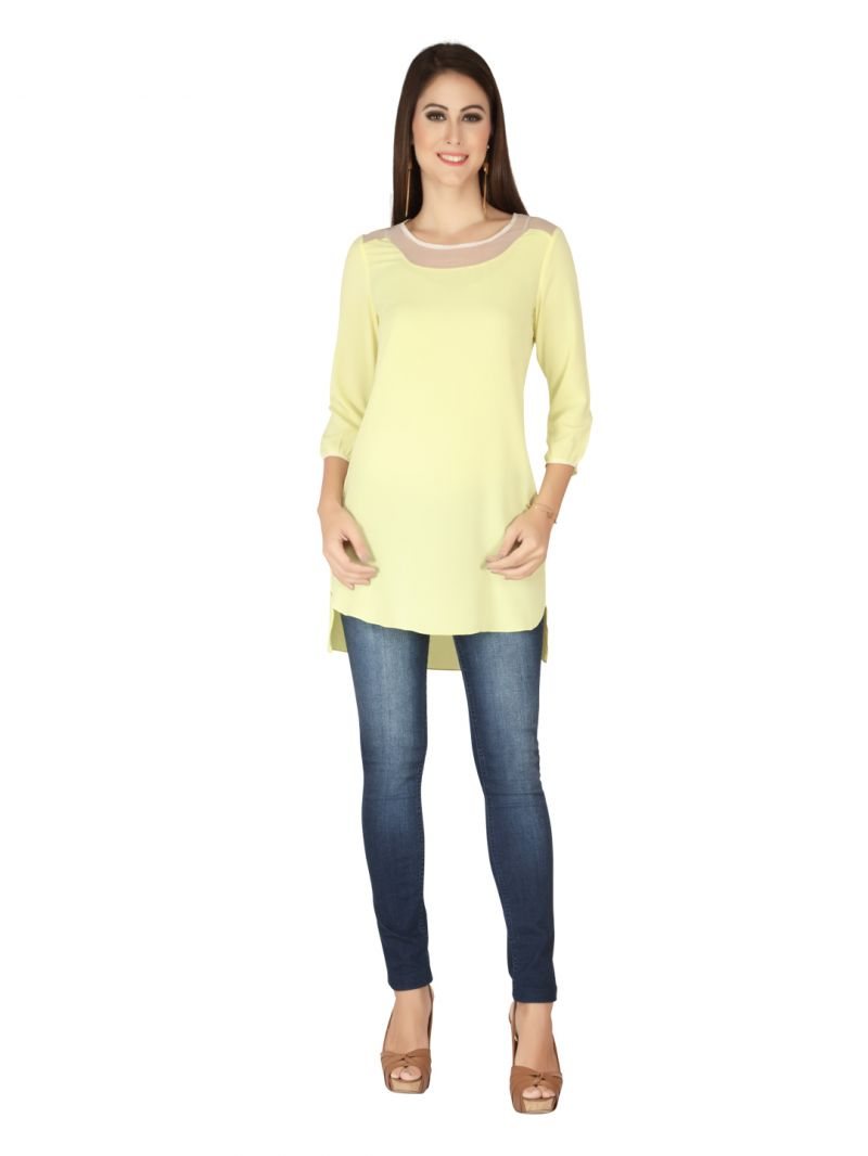 Buy Soie Yellow Crepe, Glass Nylon Tunic For Women online