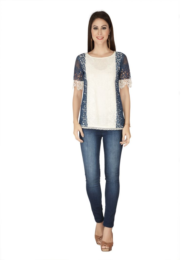 Buy Soie Printed Lace Fabric, Excel Linen Knitted Fabric Top For Women online