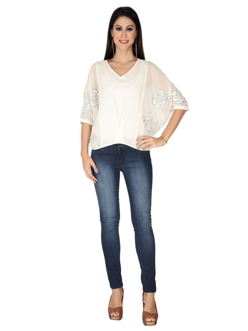Buy Soie Off White Imported Embossed, Georgette Top For Women online