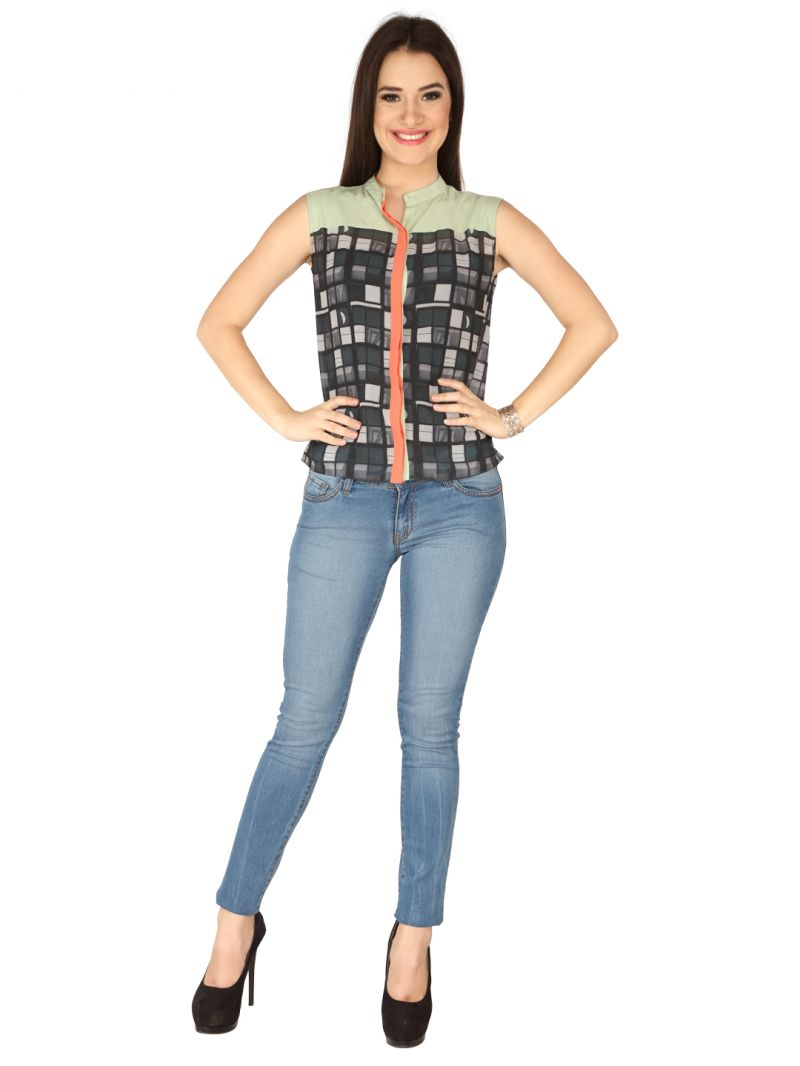 Buy Soie Printed Printed Georgette, Georgette Top For Women online