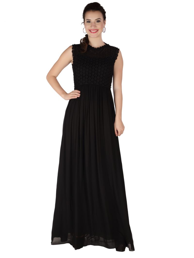 Buy Soie Black Heavy Embroidered, Georgette Maxi For Women online