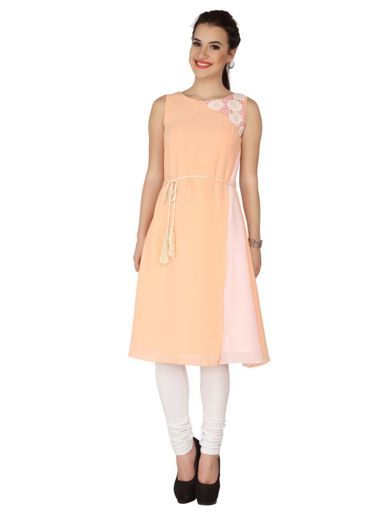 Buy Soie Peach Moss Georgette Tunic For Women online