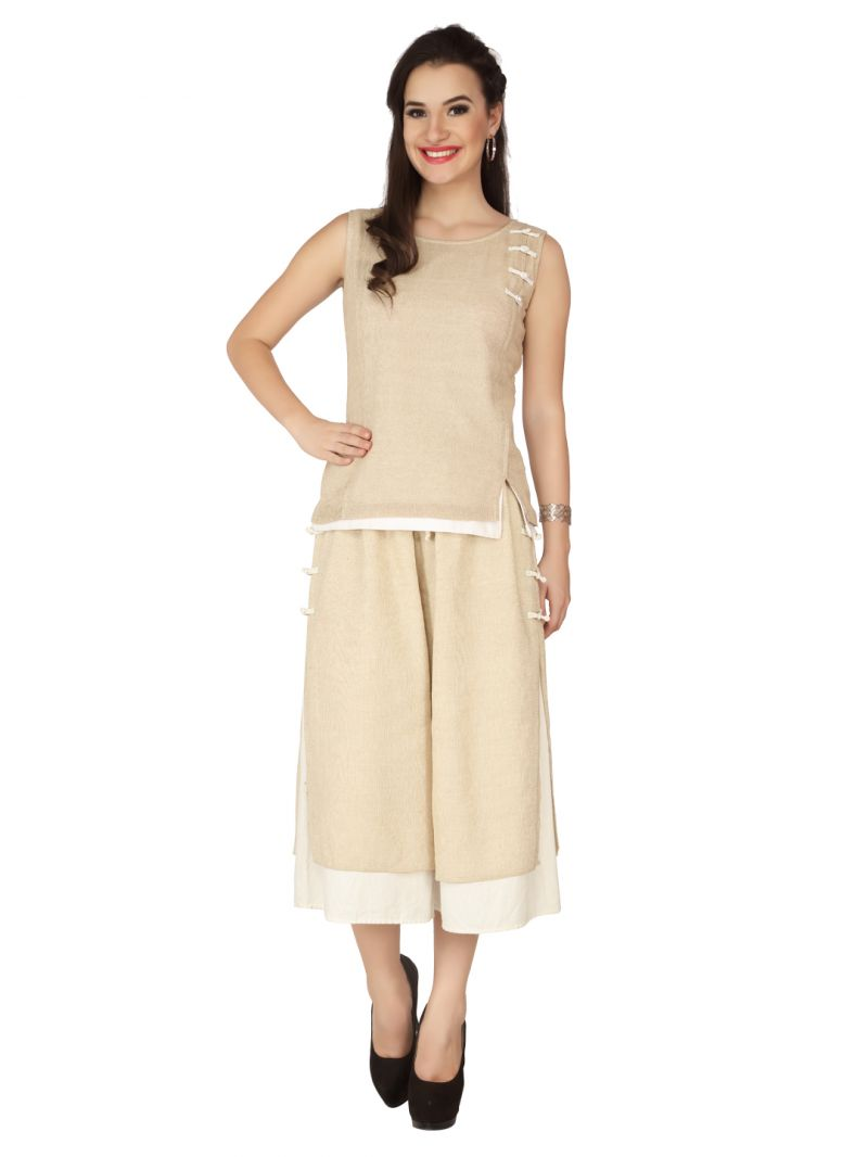 Buy Soie Ivory Jute, Blended Linen Top For Women online