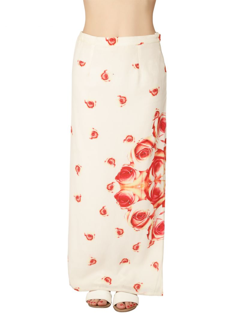 Buy Soie Off White Georgette Skirt For Women online