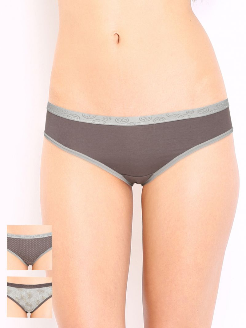 Buy Soie Multicolor Cotton/spandex Panty For Women Pack Of 2 (code - 3bf-5leaf-2) online