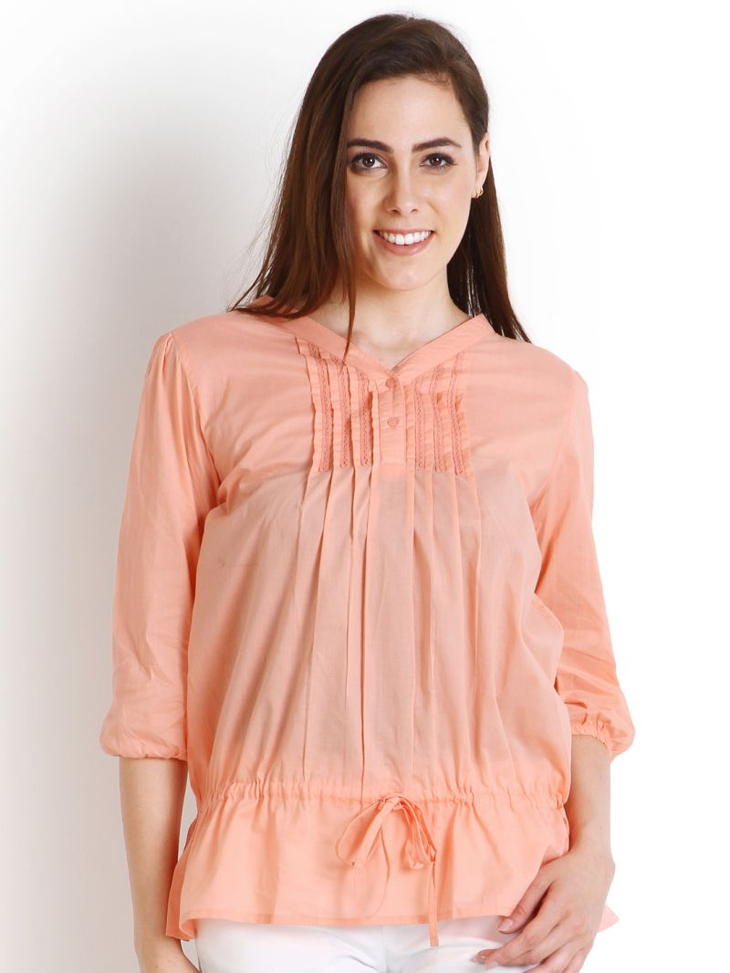 Buy Soie Casual 3/4 Sleeve Solid Women'S Top_Peach online