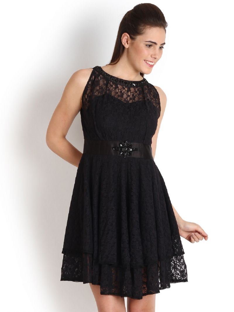 Buy Soie Two Layered Lace Dress, Bead Embellishment At The Waist online