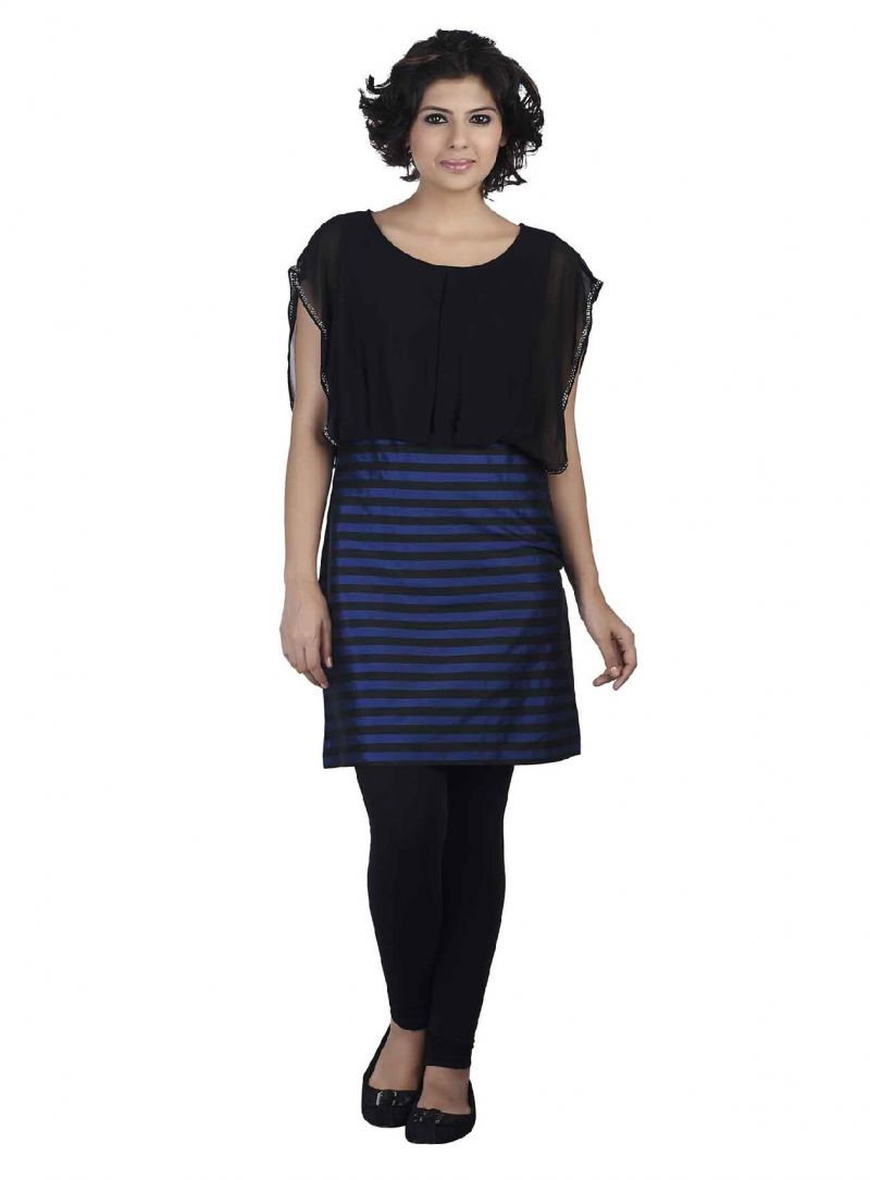Buy Soie Striped Taffeta Tunic, Ggt Bodice & Secquence Detailing online