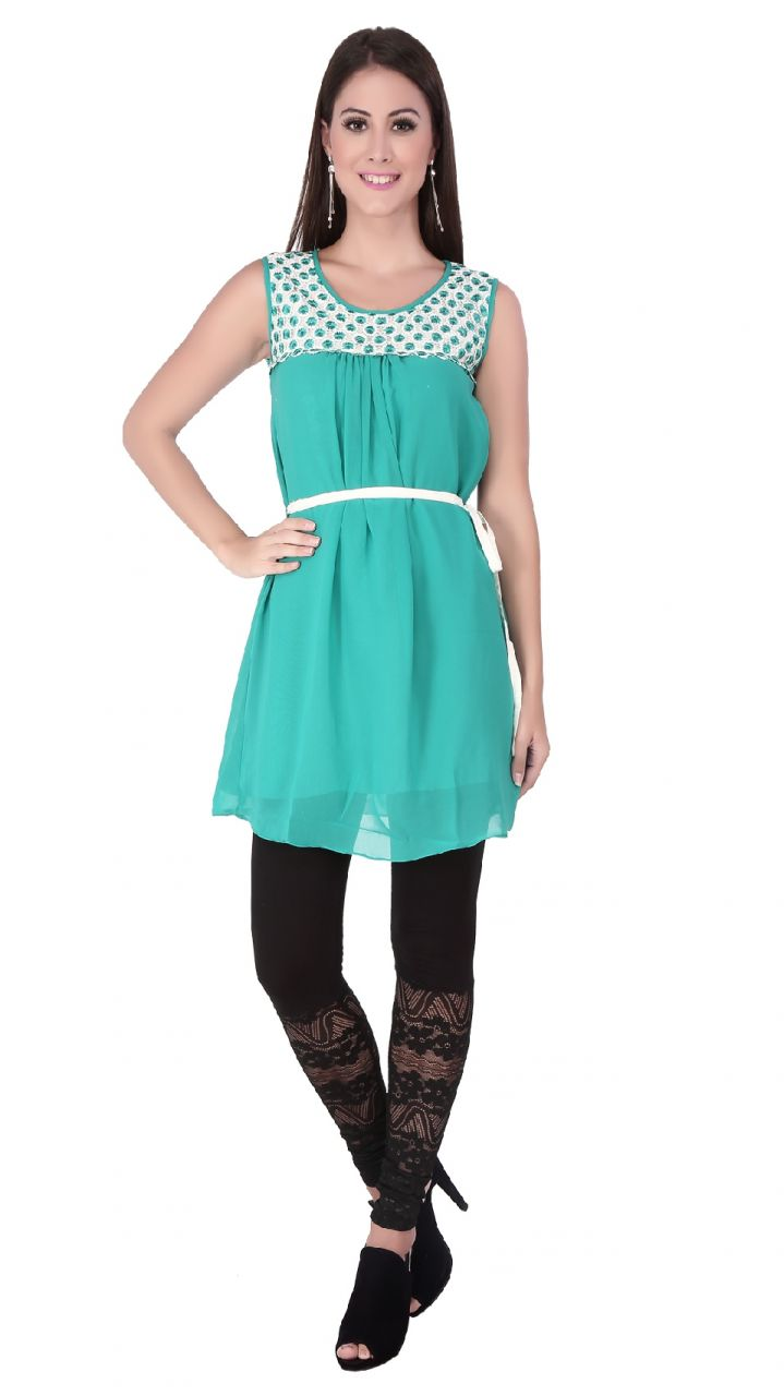 Buy Soie  Tunic, Lace Yoke, Embroidery Detailing & Belt _ Green online