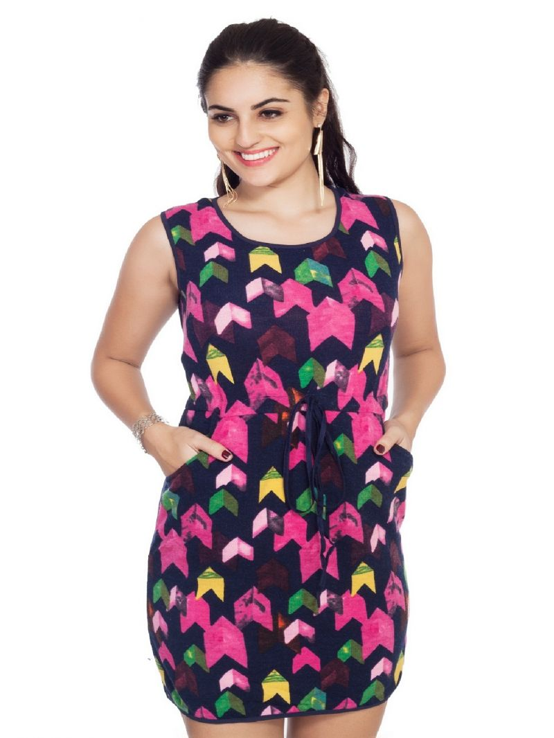 Buy Soie Printed Woollen Drawstring Tunic, Side Pockets online