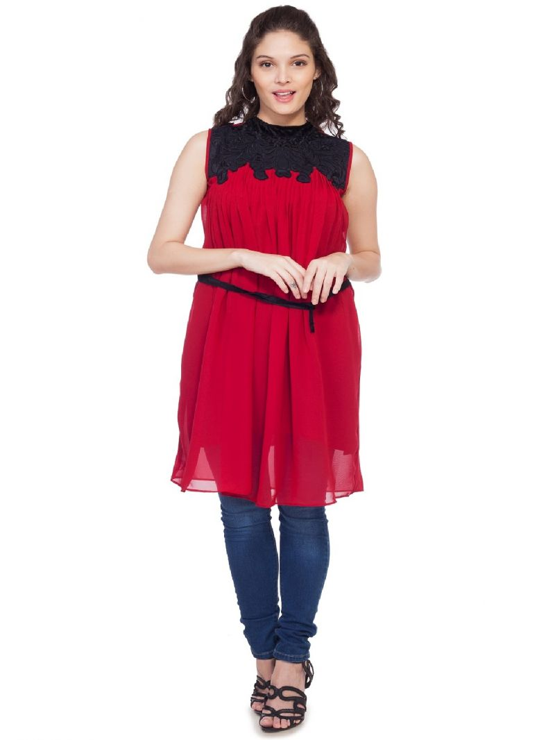 Buy Soie Gathered  Tunic, Patch Work On Yoke & Braided Belt, Tassel_Maroon online
