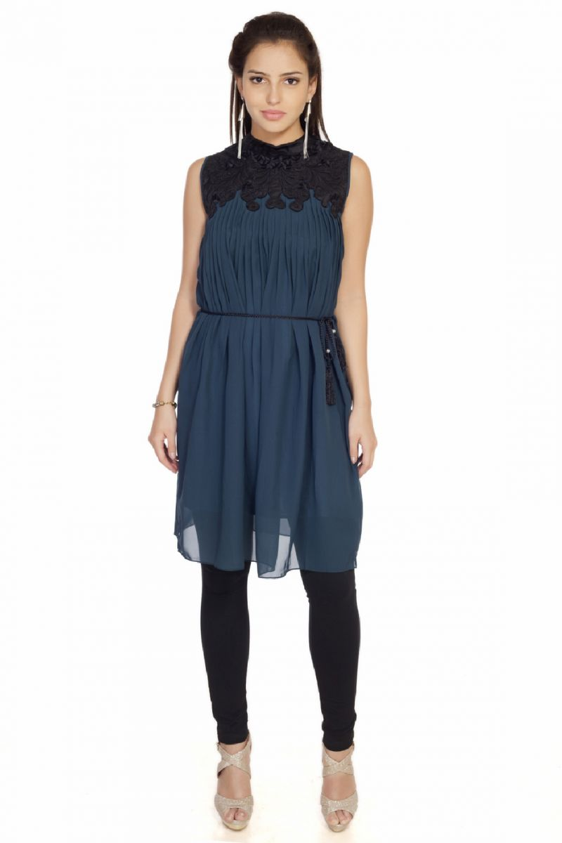 Buy Soie Gathered  Tunic, Patch Work On Yoke & Braided Belt, Tassel_Blue online