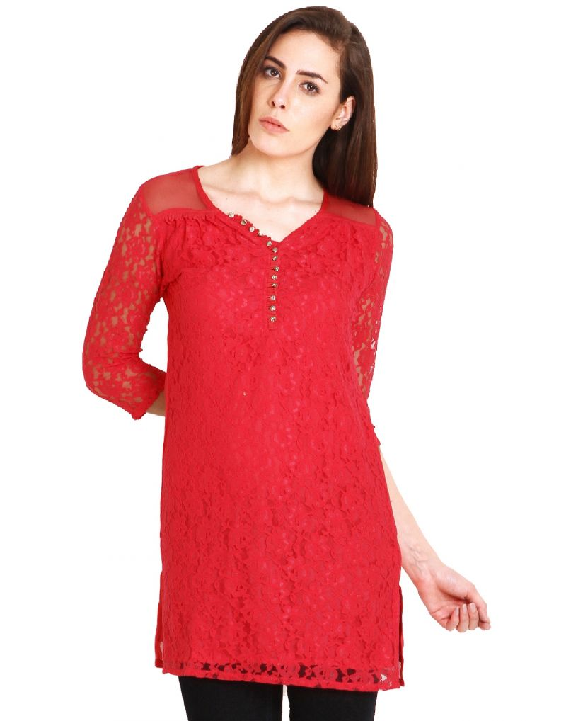 Buy Soie 34Th Sleeve Lace Tunic, Side Slits & Diamond Buttons_Pink online