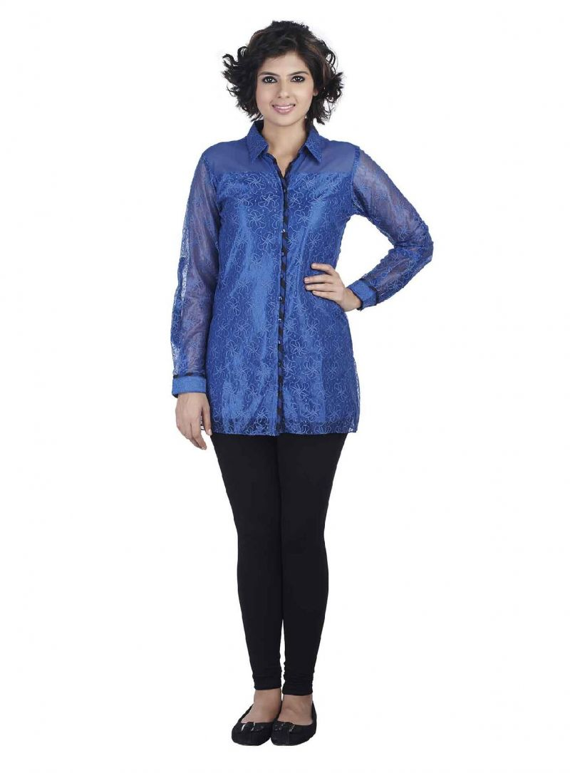 Buy Soie Lace Tunic, Front Opening & Contrast Piping Detailing_Blue online