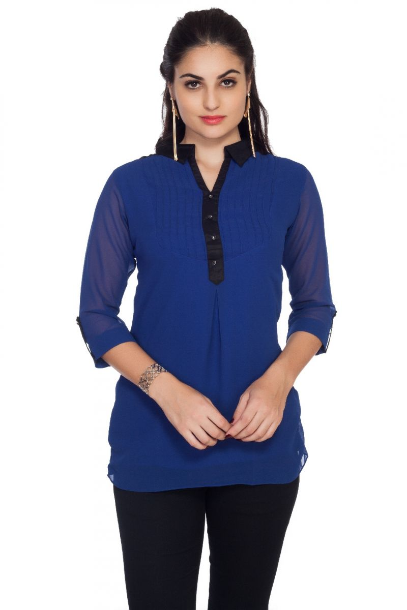Buy Soie 34Th Sleeve Ggt Top, Pin Tucks & Shirt Collar_Blue online