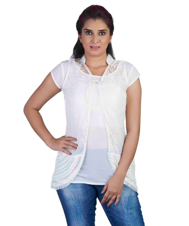 Buy Soie Short Sleeved Crepe Top, Lace Cover online