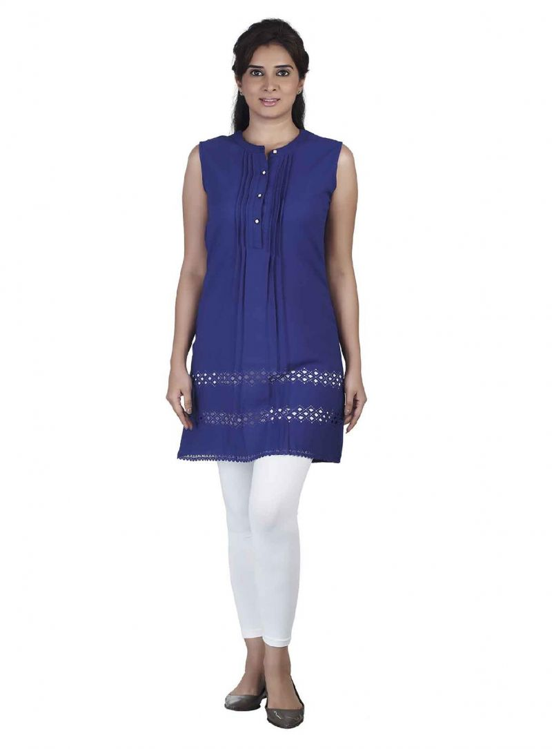 Buy Soie Sleeveless  Tunic, Laser Cut Pattern At The Hem & Front Placket online