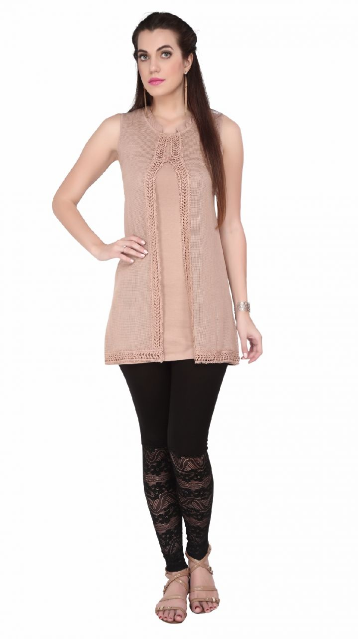 Buy Soie Sleeveless Jersey Tunic, St& Collar & Emroidered Cover online