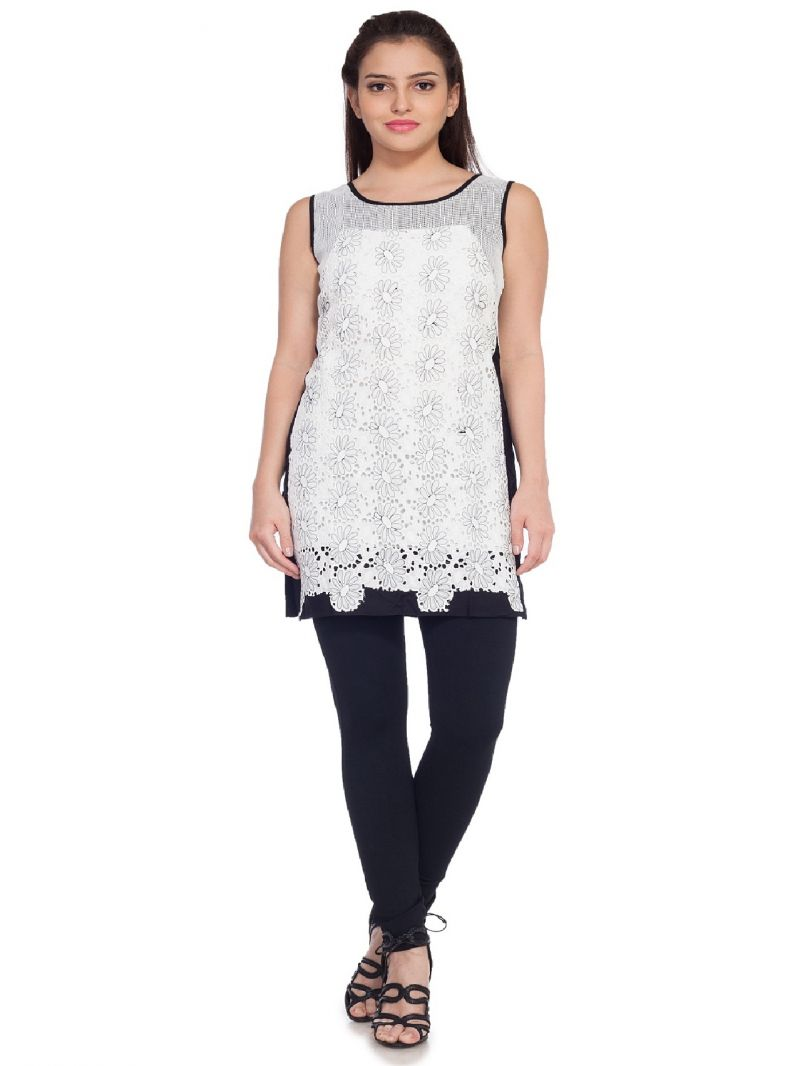 Buy Soie Sleeveless Rayon Tunic, Machine Embroidered Panels online