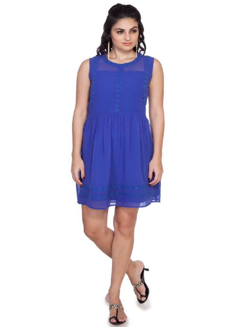 Buy Soie  Waist Gathered Dress, Lace Attached On Neckline, Armhole & On Hem_Voilet online