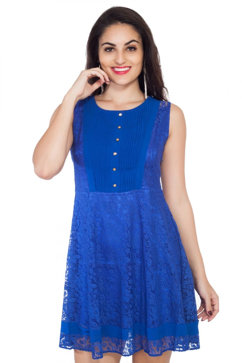 Buy Soie  Pleated Yoke Pattern Lace Fabric Flared Ink Blue Dress, Mock Golden Buttonson Center Front online