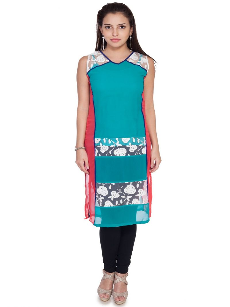 Buy Soie Sleeveless  Long Tunic, Brasso Panels online
