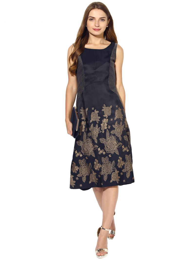 Buy Soie Women's Contrast  Embroidered Dress Side online