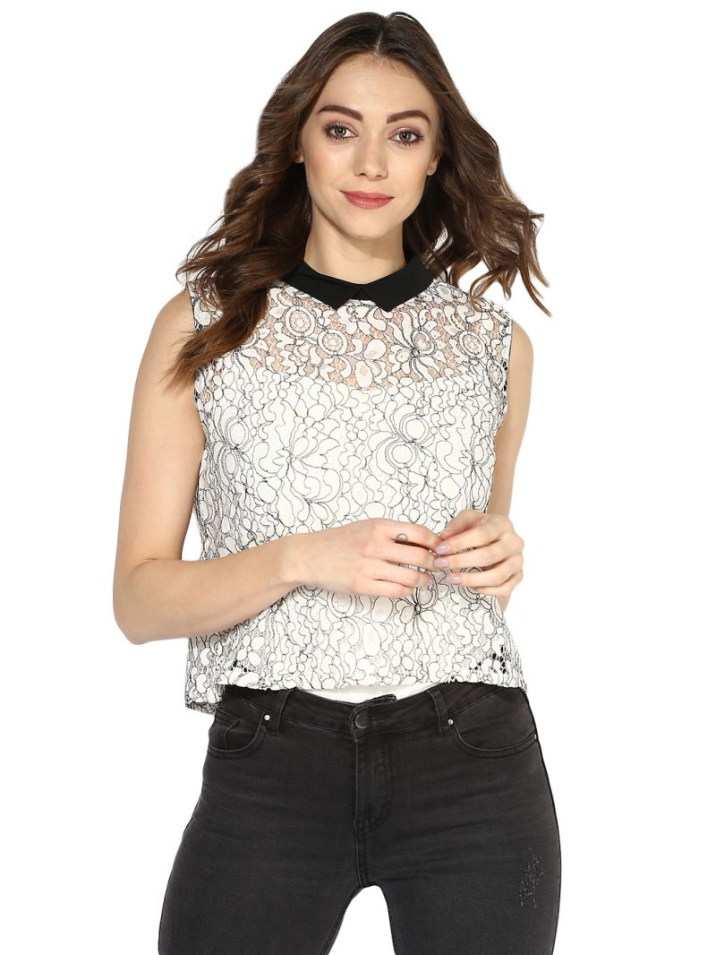 Buy Soie Women's  Off White  Shirt Collar Lace Crop Top online