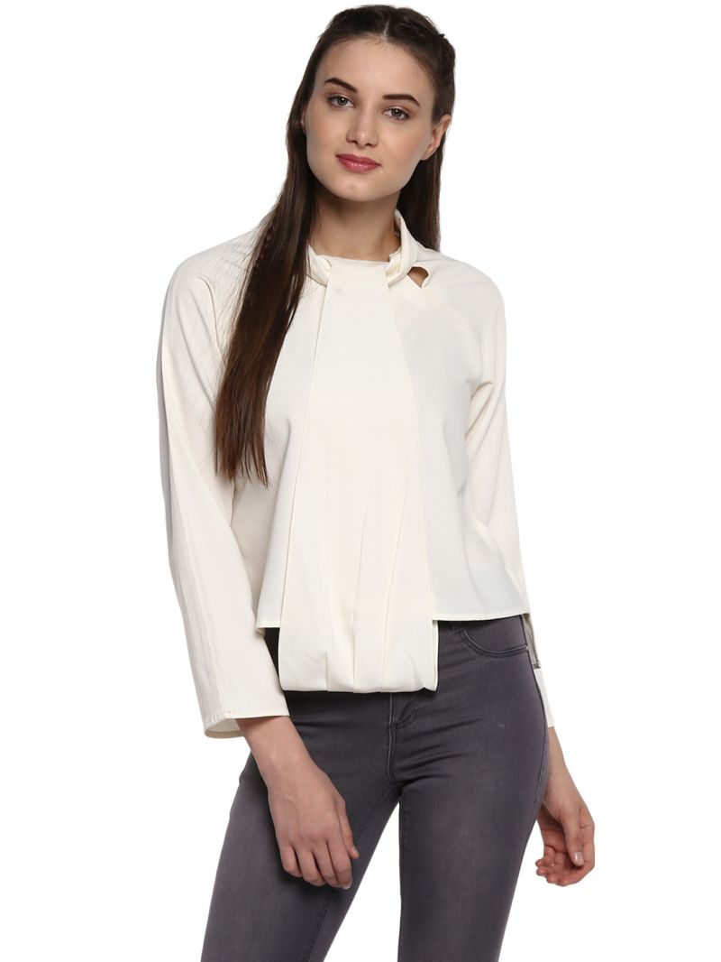 Buy Soie Women'S Cream Fancy Collar Top online
