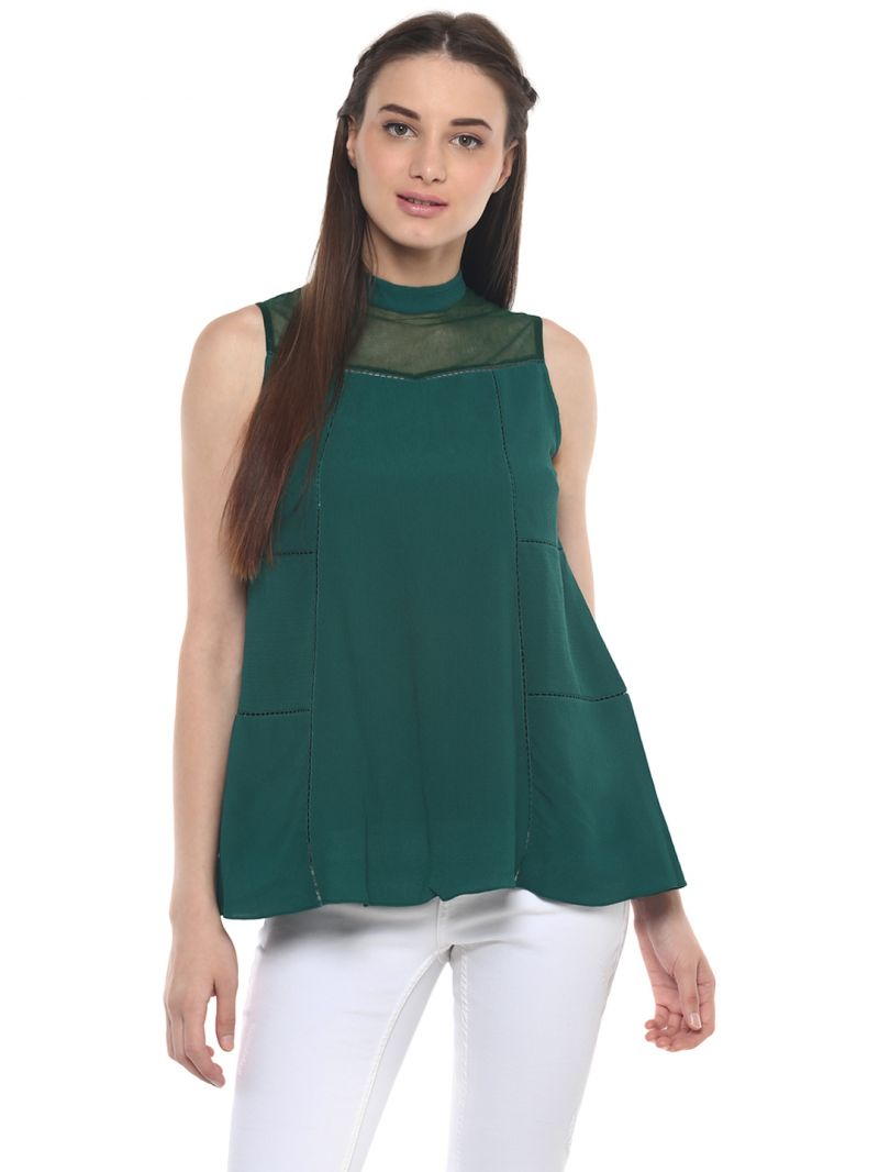 Buy Soie Women'S Green Sheer And Lace Top online