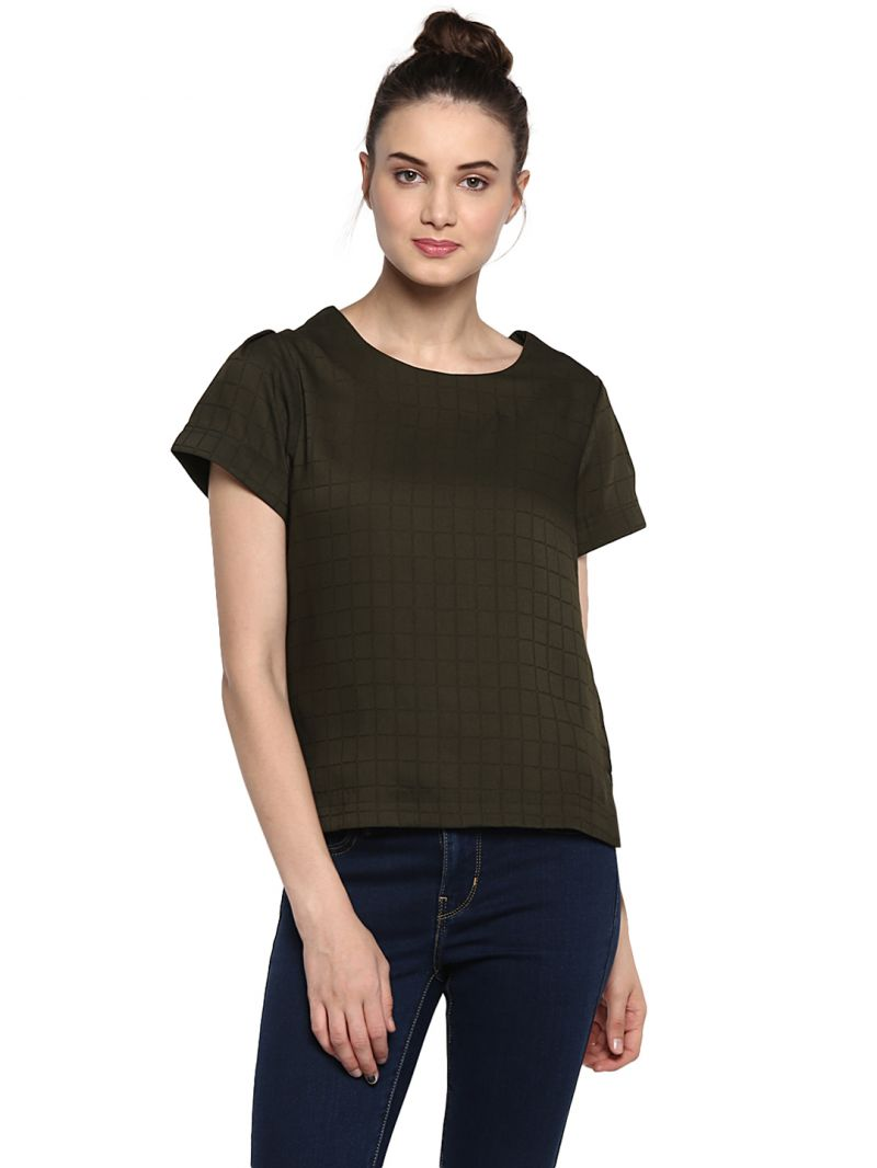Buy Soie Women'S Green Basic With Pleated Sleeve Top online