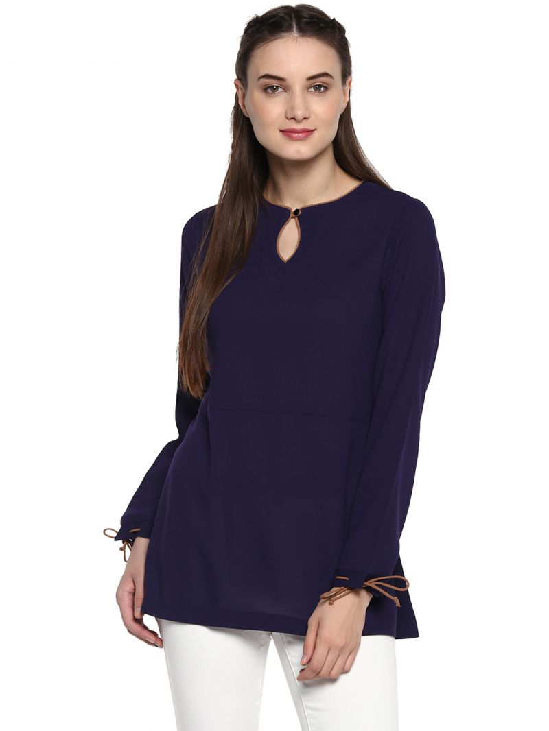 Buy Soie Women'S Blue Tie Up Cuff Top online