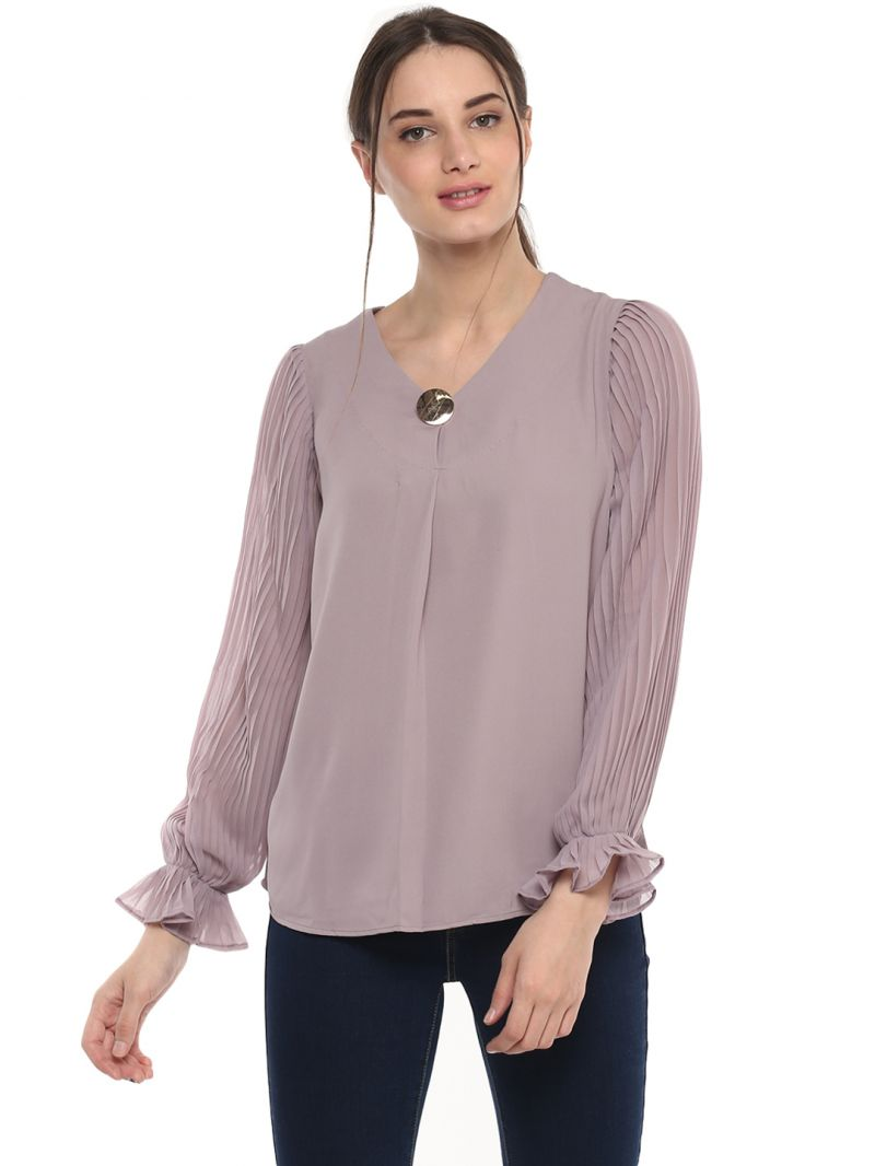 Buy Soie Women'S Lavender Pleated Sleeves Top online