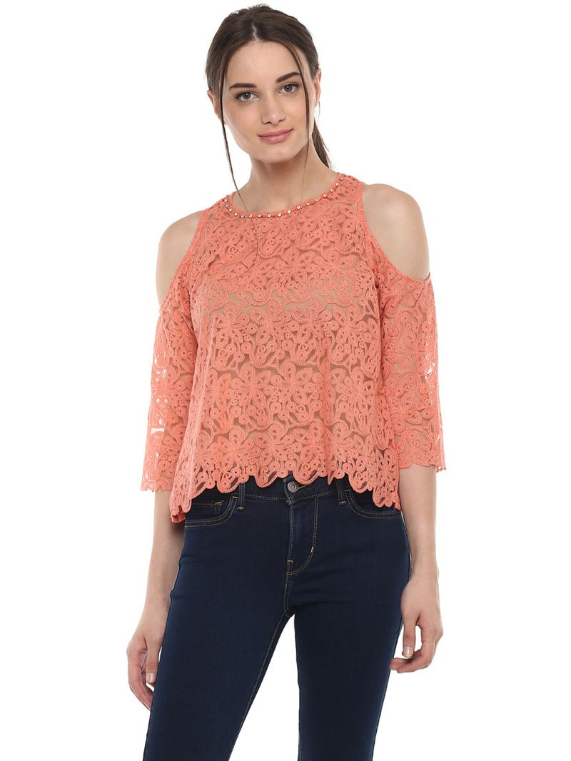 Buy Soie Women'S Pink Lace Cold Shoulder Top online