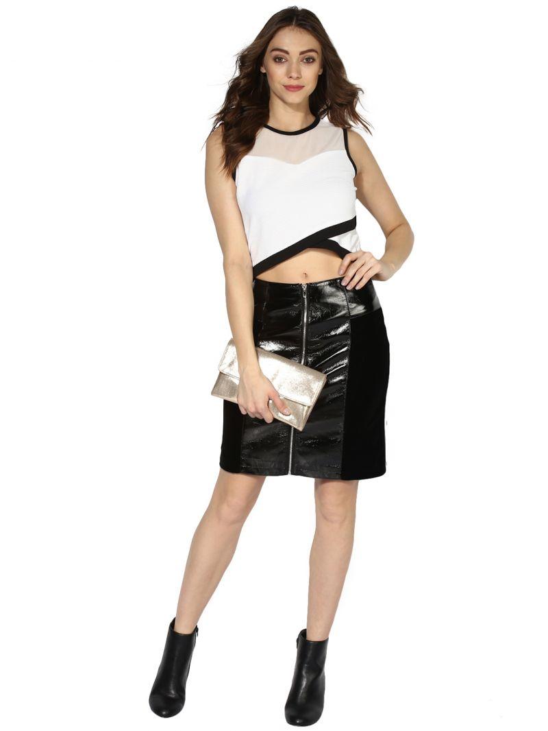 6f38f6515bee30 Buy Soie Women's Off White Asymmetric Hem Crop Top Online   Best ...