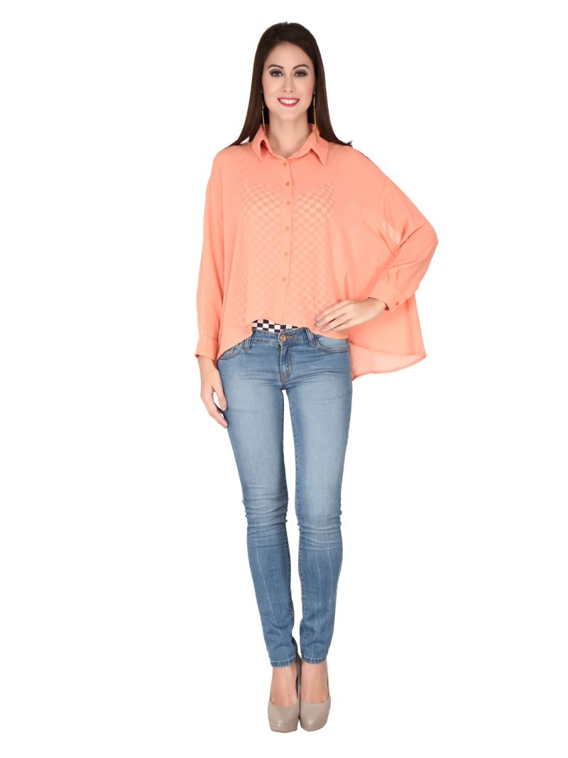 Buy Soie Peach Structured Soft Imported Georgette Top For Women online