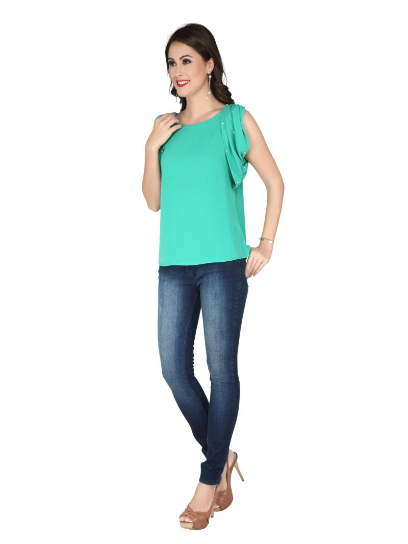 Buy Soie Green Georgette Top For Women (code - 6283) online