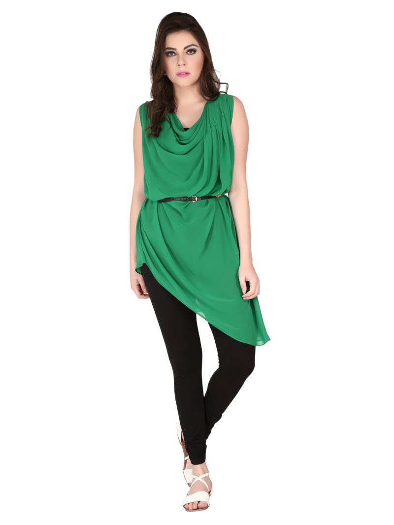 Buy Soie Royal Green Georgette Tunic For Women online