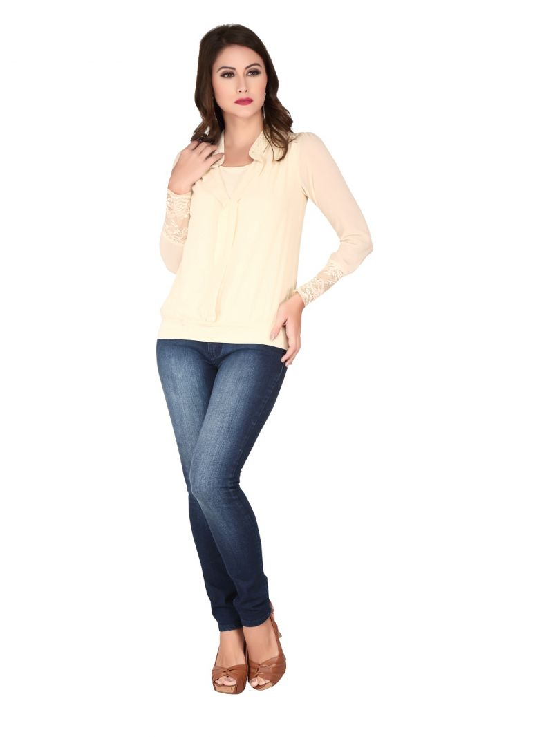 Buy Soie Sheep Skin Georgette, Lace Fabric Top For Women online
