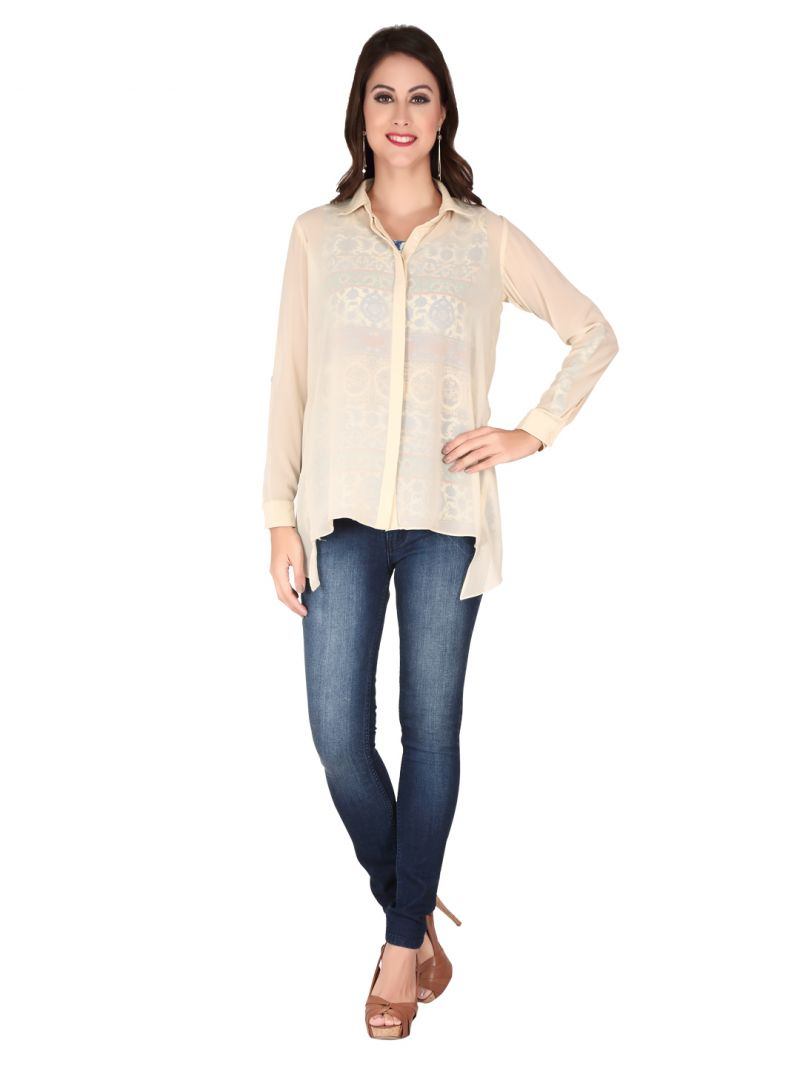Buy Soie Sheepskin Printed Printed Georgette, Georgette Top For Women online