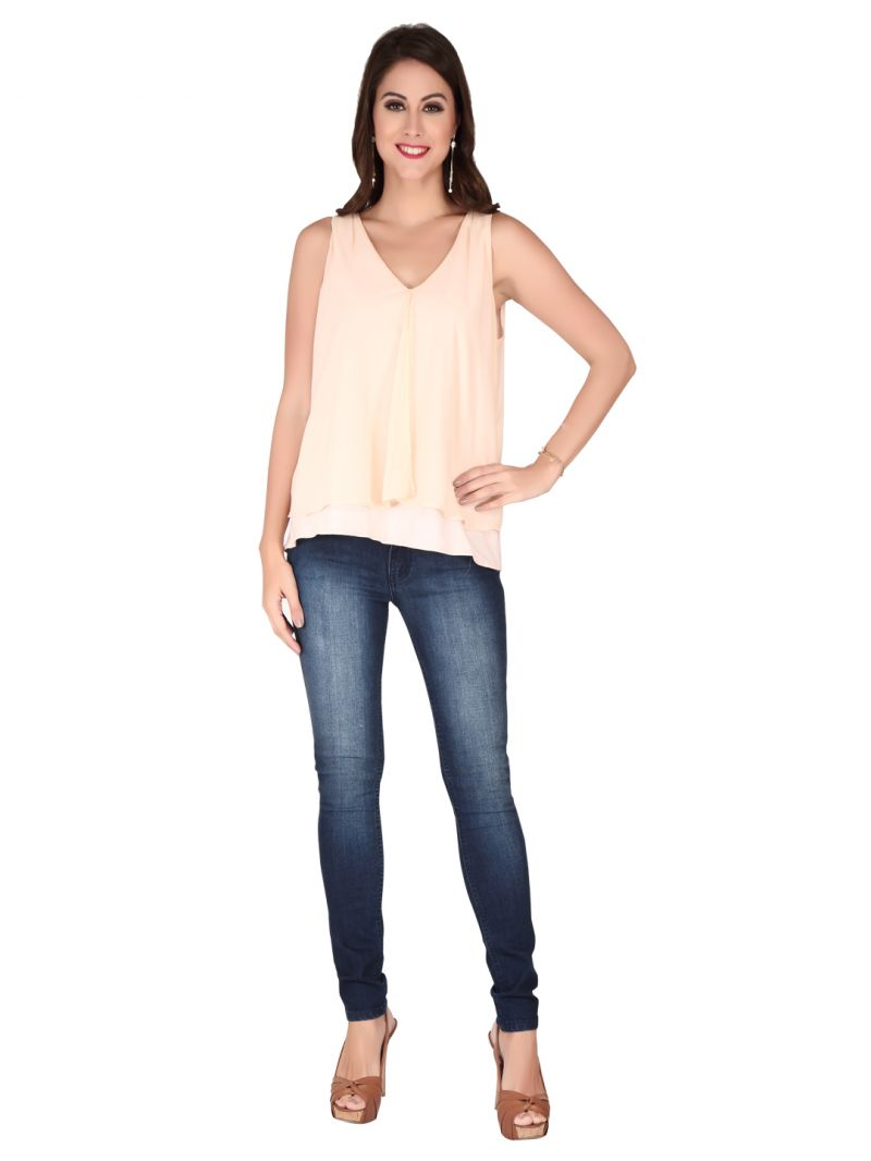 Buy Soie Peach Georgette, Knitted Jersey Top For Women online