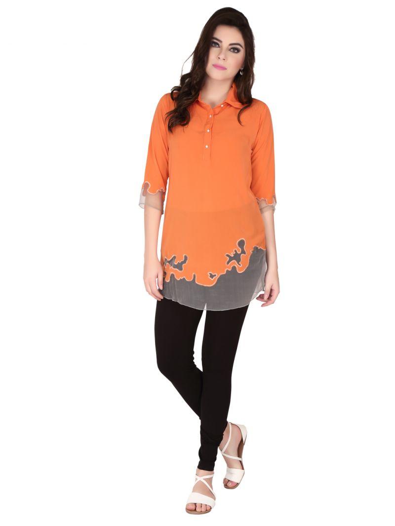 Buy Soie Orange Crepe, Glass Nylon Tunic For Women (code - 6182) online