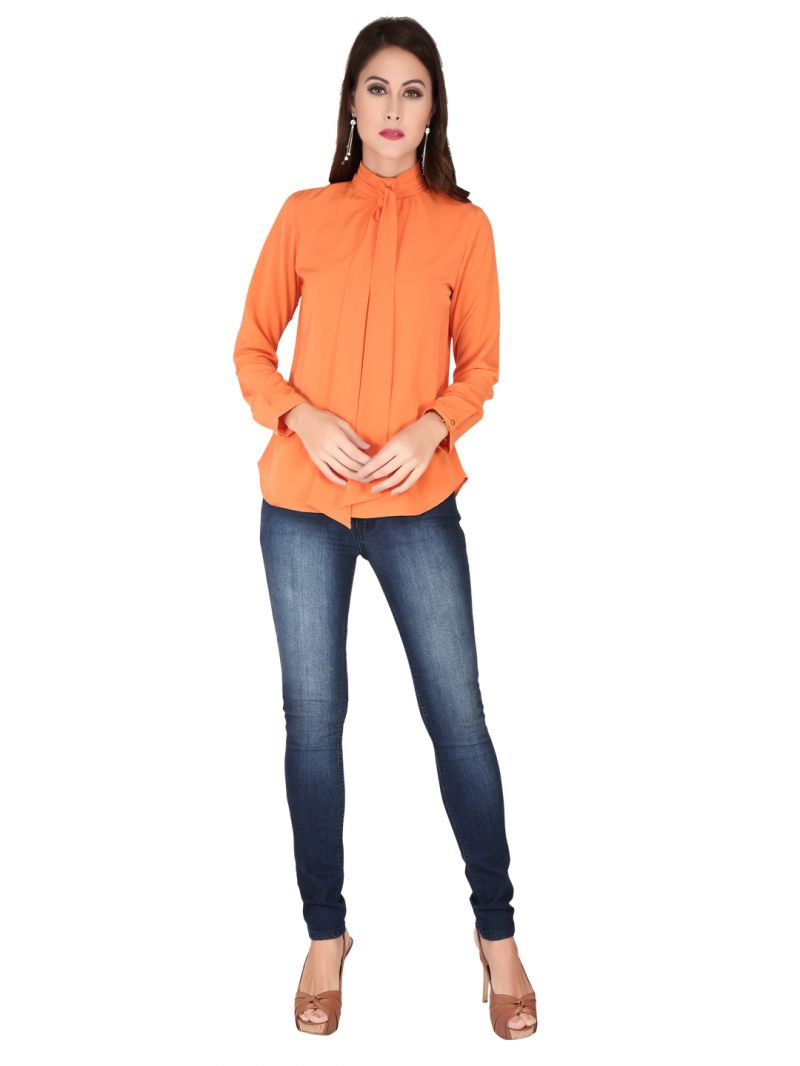 Buy Soie Orange Heavy Georgette Top For Women online