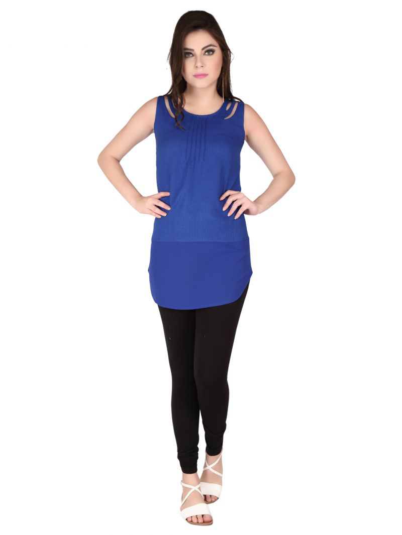 Buy Soie Ink Blue Imported Poly Jute, Georgette Tunic For Women online
