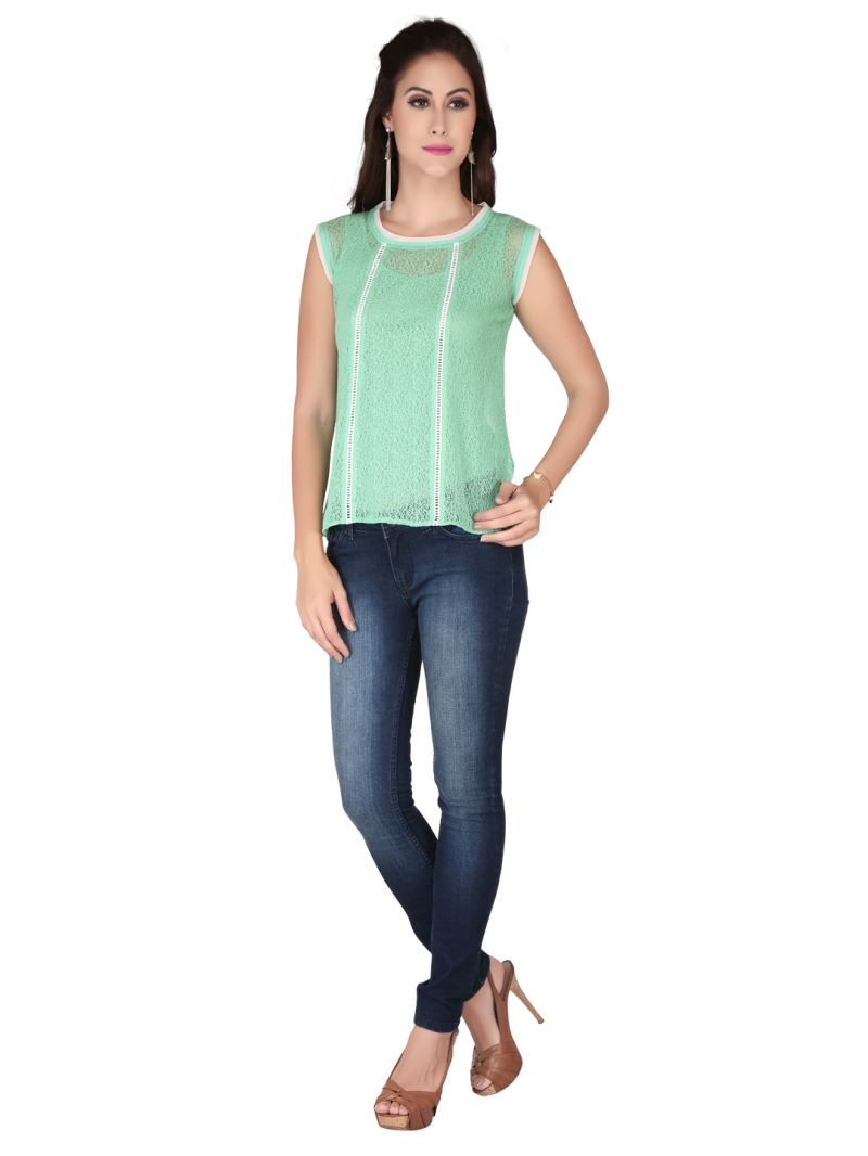 Buy Soie Green Lace Fabric Top For Women (code - 6155_i_green) online