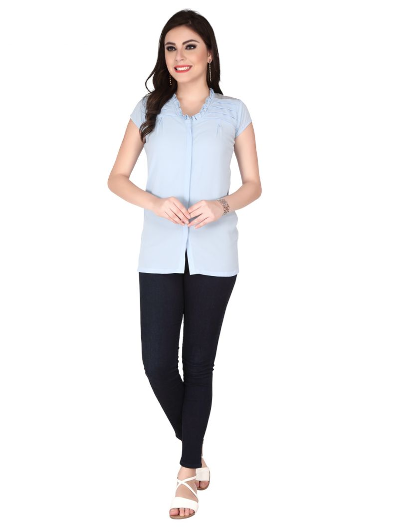 Buy Soie Blue Thick Structured Imported Georgette Top For Women (code - 6151blue) online